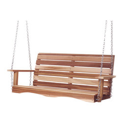 All Things Cedar - All Things Cedar PS48U 4' Porch Swing - Features a gently curved seat and back support. Includes 26 ft.of straight link suspension chain eye bolts and quick-links for quick set up.    Dimensions:   55 x 23 x 24 in. (w x d x h)