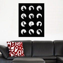 My Wonderful Walls - Black and White Moon Art Wall Decal–Wolf's Night Off by Florence Bodart, Large - - Product: decal of black and white howling animals