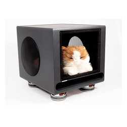 Subwoofer Pet House/Side Table - When your pet needs a hideout in your media room, studio or corner of the family room, consider a recycled Klipsch subwoofer that has been detailed with upholstered walls, a plush carpet, speaker drivers for awesome feet, and your pet's name in wood letters on the headboard. Klipsch has been a respected name in high-end audio for years and this subwoofer was originally part of the ProMedia Ultra 5.1 system introduced in 2003. If you are looking for a totally unique home for your best friend, this is definitely the conversation piece that will fit the bill.