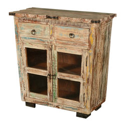 "Sierra Living Concepts - Reclaimed Wood Scalloped Edge Display Buffet Cabinet - Add a warm and cozy cabinet to your kitchen, dining room or living room with our Winter Night 35.5"" long Display Cabinet. This mini sideboard is hand crafted by old world artisans from solid hard wood. The double glass doors open up onto a 2-shelf cupboard, so you can display your best dishes or favorite media. The cabinet top extends over the frame with a scalloped edge with decorative metal brackets on the corners and middle."