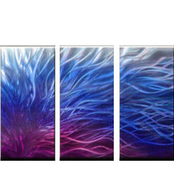 Matthew's Art Gallery - Metal Wall Art Abstract Modern Contemporary Sculpture Wall Decor Silver Blue - Name: Silver, Blue and Purple Electric