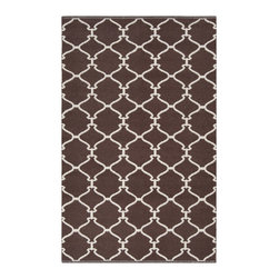 None - Hand-woven Mocha Trellis Dark Chocolate Wool Rug (3'3 x 5'3) - This flatweave rug was hand-woven in India from 100-percent wool. Featuring a delicate trellis design,and rich color it is sure to make a statement in any room.