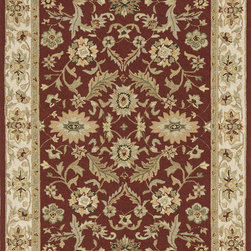 Momeni - Momeni Veranda Outdoor / Indoor Traditional Burgundy 8' x 1' Rug by RugLots - Elegant traditional designs and subtle transitional motifs adorn these unique outdoor rugs. Hand-hooked of 100% polypropylene, Veranda is completely outdoor-friendly. With their EZ Care system, you just hose them down and they will offer years of outdoor enjoyment. UV protected and mildew resistant.