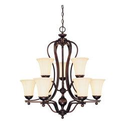 Savoy House - 9 Light Up Lighting Chandelier Vanguard Collection - Vanguard 9 Light Chandelier9 Medium Base 60WCream Opal Etched Glass