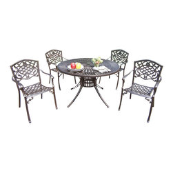 """Oakland Living - Oakland Living Sunray Mississippi 48"""" 5-Piece Dining Set in Antique Bronze - Oakland Living - Patio Dining Sets - 111821205AB - About This Product:"""