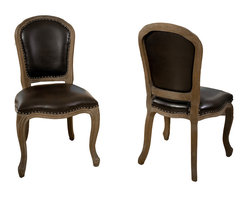 Great Deal Furniture - Lucien Weathered Oak Armless Chair, Set of 2 - Studly is nice. Riveting is better. These handsome dining chairs with nailhead trim will definitely garner attention at your next dinner party. Framed in weathered oak and dressed in brown leather, each chair offers a classic silhouette, not to mention a comfortable seat, for each guest at your table.