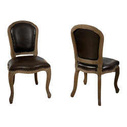 Lucien Weathered Oak Armless Chair, Set of 2