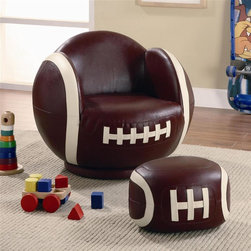 Coaster - Kids Small Football Chair and Ottoman - Casual style. Chair with shapely rounded arms. Padded seat back with rounded base. Oval shaped ottoman. Brown color. Chair: 24.75 in. W x 26 in. D x 19.5 in. H. Ottoman: 14 in. L x 13.38 in. W x 8.5 in. H. WarrantyIf your child has a love for sports, then this chair and ottoman will make a perfect addition to their bedroom or playroom! This small kids football chair with ottoman set will create a fun, exciting, and unique look that friends will admire.
