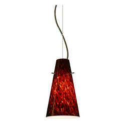 Besa Lighting - Besa Lighting 1KX-412441-LED Cierro 1 Light LED Cable-Hung Pendant - Cierro is a softly tapered narrow cylinder, creating a refined contemporary look. Our Garnet glass is full of floating, vibrant red tones with a mix of black and white tones behind them. When the glass is lit the fiery color palette illuminates to exude a harmonious display. This decor is created by rolling molten glass in small bits of deep red hues called frit along with black glass powders. The result is a multi-layered blown glass, where frit color is nestled between an opal inner layer and a clear glossy outer layer. This blown glass is handcrafted by a skilled artisan, utilizing century-old techniques passed down from generation to generation. Each piece of this decor has its own artistic nature that can be individually appreciated. The cable pendant fixture is equipped with a 10' silver aircraft cable and AWM cordset, and a dome monopoint canopy.Features: