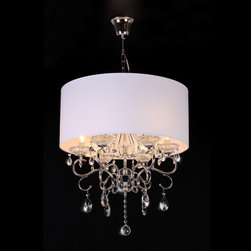 Warehouse of Tiffany - Crystal Chandelier - Add some elegance to your home decor with this lovely Crystal Chandelier. The chandelier has a faux silk shade in ivory to create a soft ambient light.