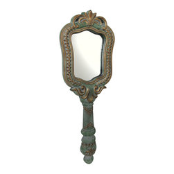Zeckos - Hand Painted Wall Mounted 40 Inch Tall Hand Mirror - This 40 inch high wall mounted mirror looks like a hand mirror, but is much, much larger. Made of resin and foam, the frame of the mirror is 40 inches tall,14 1/2 inches wide and 2 inches deep. It has a hand-painted green, gray and gold finish. The mirror itself is approximately 12 inches by 9 inches. Reminiscent of the mirrors used by princesses and queens in fairy tales, this mirror would be a perfect decor accent for your little princess' room