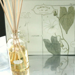 Frontgate - Simpatico White Flower Diffuser - White Flower has pristine powdery notes, warm herbaceous top notes, and hints of rosewood to create an innocent but alluring combination. 8 oz. glass diffuser. Packaged in beautiful gift boxes of antique field guide book pages. Shatterproof bottle. NOT tested on animals. Made with the highest quality essential and fragrance oils, the Simpatico Boxed Scent Diffuser replenishes any room in your home with a pleasant, long-lasting essence. Filled in a beautiful amber bottle, the oil is protected from light, thus maintaining the integrity of the scent. .  . . . . Made in the USA.