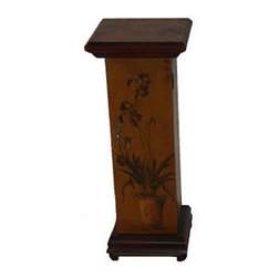 Oriental Furniture - Iris Pedestal Plant Stand - Features: -Hand painted iris theme.-Wooden oriental pedestal.-1 door.-Genuine brass hardware.-Hand-crafted.-Philippine mahogany and elm wood construction.-Hand finished.-Distressed: Yes.-Top Material: Wood -Top Material Details: Philippine mahogany and Elm..-Base Material: Wood -Base Material Details: Philippine mahogany and Elm..-Hardware Material: Metal.-Collection: Chinese Art Furniture.-Finish: Antiqued brown.-Hardware Finish: Antiqued brass.-Solid Wood Construction: No.-Reclaimed Wood: No.-Non-Toxic: No.-Scratch Resistant: No.-UV Resistant: No.-Weather Resistant or Weatherproof: No.-Stain Resistant: No.-Moisture Resistant: No.-Number of Interior Shelves: 1.-Swatch Available: No.-Commercial Use: No.-Eco-Friendly: No.-Product Care: Dust with a dry cloth.Dimensions: -Overall Height - Top to Bottom: 30.-Overall Width - Side to Side: 12.-Overall Depth - Front to Back: 12.-Overall Product Weight: 5.-Table Top Thickness: 1.5.-Table Top Width - Side to Side: 12.-Table Top Depth - Front to Back: 12.-Cabinet Interior Height: 24.-Cabinet Interior Width - Side to Side: 8.5.-Cabinet Interior Depth - Front to Back: 8.5.Assembly: -Assembly Required: No.-Additional Parts Required: No.
