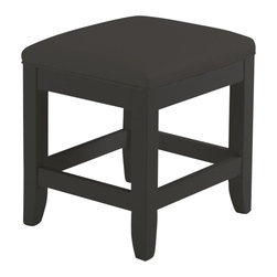 Home Styles - Home Styles Bedford Vanity Bench in Black Finish - Home Styles - Vanity Benches - 553128 - The Bedford Vanity Table Bench is finished in a Black finish over hardwood solids with a Black vinyl cushioned seat and slightly flared legs. Size:  17w 15d 19h