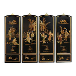 Oriental Furniture - Ladies Soapstone Wall Plaques - Add a touch of the East to your home decor with these exquisite wall plaques.  Each set is individually crafted by an artisan in Guangdong and features a unique courtyard scene different from any other. Decorated with carved soapstone figures with hand painted details and finished with a rich lacquer, this art set will bring a sophisticated Oriental accent to your home.