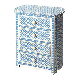 Butler Specialty - Butler Amelia Blue Bone Inlay Accent Chest - Sophisticated artistry and craftsmanship go into the detailed wedding ring pattern on the drawers, top and sides of this delightful chest. White bone inlays individually cut and applied against a sky of blue make each dresser a bonafide original. The chest boasts four storage drawers and beautifully rounded sides, ideal for a child or teenager's room and equally at home in the dressing room or sitting room.