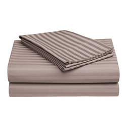 650 Thread Count Egyptian Cotton Twin Gray OVERSIZED Stripe Sheet Set - Want the feel of a Luxury Hotel in your bedroom?  This 100% Egyptian Cotton Sheet Set brings the unique feel of a high-quality to your bedroom. Feel like a Queen or King nestled in the most luxurious bed linens available. Breathable and Durable, these 650 Thread Count Sheets are made to last forever. Flat Sheet and Pillowcase feature a tuxedo pleated hem to add an elegant look to any decor. Set includes flat sheet 66x100, fitted sheet 39x75, and a pillowcase 21x32.