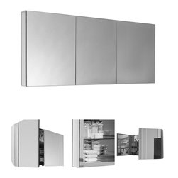 "Fresca - Fresca 60"" Wide Bathroom Medicine Cabinet - This 60"" medicine cabinet features mirrors everywhere. The edges have mirrors and also on the interior of the medicine cabinet. The inside features four tempered glass shelves. Can be wall mounted or recessed into the wall."