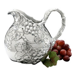 Arthur Court - Grape Small Pitcher - You'll have visions of grapes dancing in your head when you grace your table with this stunning highly polished aluminum pitcher. And think of the possibilities — a small bouquet of flowers, a personal serving of wine, clotted cream for your scones. Or, place it on a sideboard and just look at it!