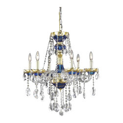 Elegant Lighting - Elegant Lighting 7810D24BE Alexandria 6-Light, Single-Tier Crystal Chandelier, F - Elegant Lighting 7810D24BE Alexandria 6-Light, Single-Tier Crystal Chandelier, Finished in Blue with Clear CrystalsElegant Lighting 7810D24BE Features: