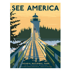 See America, Acadia National Park Print - See America poster celebrating the Maine, Acadia National Park and the Isle Au Haut lighthouse. Illustration by Steven Thomas in 2013.