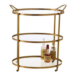 Arteriors Home - Arteriors Home Connaught Antique Brass Bar Cart - Drinks are served! So are appetizers, side dishes, the roasted turkey and anything else you don't have room for on your table. It's much more than a gorgeous bar cart with three glass shelves on a rolling frame. It's an extra pair of hands.