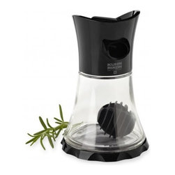Kuhn Rikon - Kuhn Rikon Glass Vase Whisk, Black - The newly designed Vase Whisk has a glass container with a silicone whisking ball that completely mixes and emulsifies dressings and marinades.  Features: Color -black Open or close by twisting dial on top  Large spout pours liquids containing herbs or chopped garlic  Glass container with silicone whisking ball completely mixes and emulsifies dressings and marinades  Includes recipes for citrus vinaigrette, Italian dressing, southwestern marinade, & buttermilk ranch dressing