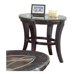 """Steve Silver Furniture - Steve Silver Cayman End Table with Faux Marble and Glass Top - With dramatic curves and luxurious details, the Cayman Collection adds dynamic flair to any room. The Cayman End table stands 24"""" high, with a 28"""" x 24"""" oval top  of faux marble and 8mm beveled glass. The decorative curved metal detail base is finished in a deep antiqued brown. This impressive-Piece complements the Cayman sofa and cocktail table."""