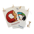 Baby Baazaar Inc. - Animal Alphabet Flashcards with Hanging Kit - Make the ABCs as easy as 1, 2, 3 with these sweet, silly flashcards. Delightfully illustrated and cleverly designed to teach your little one both animals and the alphabet, they also come with a hanging kit to transform them into a charming room decoration.