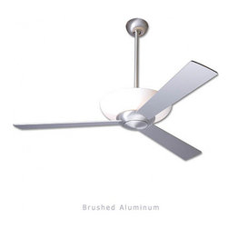 "Modern Fan - Modern Fan Aurora ceiling fan - The Aurora ceiling fan was designed by Ron Rezek for The Modern Fan Co. The Aurora fan is an innovative design incorporating a circline lamp positioned in a translucent diffuser, providing the incandescent equivalent of 180 watts of color-corrected, energy saving fluorescent light, both up and down. The Aurora includes 2 standard down-rods 6"" & 16"" yielding 14"" & 24""overall lengths respectively. Accessory down-rods are available for longer overall lengths.   Product Details:   The Aurora ceiling fan was designed by Ron Rezek for The Modern Fan Co. The Aurora fan is an innovative design incorporating a circline lamp positioned in a translucent diffuser, providing the incandescent equivalent of 180 watts of color-corrected, energy saving fluorescent light, both up and down. The Aurora includes 2 standard down-rods 6"" & 16"" yielding 14"" & 24""overall lengths respectively. Accessory down-rods are available for longer overall lengths.                                      Manufacturer:                                      The Modern Fan Company                                                     Designer:                                     Ron Rezek                                                     Made in:                                     USA                                                     Dimensions:                                      Height: 14"" (35.6 cm) X Blade Span: 42"" (106.7 cm) or 52"" (132.1 cm)                                                     Light Bulb:                                     1 X 40W T-5 Circline Fluorescent"