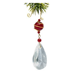 Sitara Collections - Handmade Clear Glass and Brass Holiday Ornament with Red Glass Bead - This Clear, Teardrop-Shaped ornament with Your Choice of Holiday-Hued Beads offers Low Key Elegance That Enhances any Decorating Scheme. Splashes of Color From the Three top Beads Serve to Highlight the Bright Beauty of the Clear Bottom Half, While the Rich Brass Wire Does Double Duty as an Embellishment and accent That Ties Everything together. Crystal Glass ornament with Brass Trim and ornate Hook Glass ornament is Handcrafted in india by Master artisan intricately Designed ornament is Great for Your Holiday Seasomal Decor Materials: Glass and Brass Dimensioms: ornament Measures 4.625 inches Lomg X 1 inch Wide.