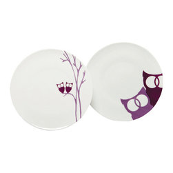 MarlaDawn - Dessert Plates - set/4, Owls - Whimsical creatures designed with a fanciful touch. Each set comes with two plates that depict them in close-up and two plates that show them nestled in their own individual environment. Bold and playful, just like humans in love, they bring pleasure to any dining experience.
