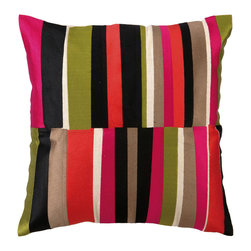"Trina Turk - Trina Turk Watercolor Stripe Pink Embroidered Linen Pillow - Fluid strokes of browns and pinks with a pop of green converge for a stained glass effect in the energetic Watercolor Stripe throw pillow. Handcrafted with a focus on contemporary style for your bedroom, den or living space. Pillow measures 20"" x 20""; Linen pillow with embroidered detail; Hidden zipper closure; Down pillow insert included"