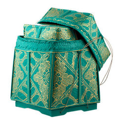 Brilliant Imports - Teal & Gold Baskets, Set of 2 - These Balinese offering baskets are a pretty way to tidy up, organize, and make the ordinary extraordinary. Rich teal with shimmery gold floral design accents.  Hand-woven and painted in Bali.