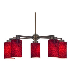 Design Classics Lighting - Modern Chandelier with Five Lights and Red Art Glass - 590-220 GL1018C - Contemporary / modern neuvelle bronze 5-light chandelier with cylinder glass shades. Includes one 6-inch and three 12-inch down rods that allow this chandelier to hang at a minimum height of 17-3/4-inches up to a maximum of 53-1/8-inches. Takes (5) 100-watt incandescent A19 bulb(s). Bulb(s) sold separately. UL listed. Dry location rated.