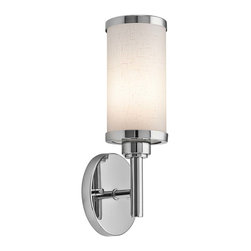 Kichler 1-Light Wall Mount - Chrome - One Light Wall Mount A blend of contemporary and traditional influencing, this energy efficient lighting wall sconce features a soft matte white acrylic diffuser shade that is the perfect contrasting accent to the brilliant polished chrome finish. Ada compliant. Height from center outlet: 10""