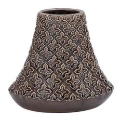"Benzara - Crackled Bell Shaped Vase in Brown Glossy Finish - Crackled Bell Shaped Vase in Brown Glossy Finish. With an artistic design of repetitive floral pattern, this vase will adorn your living space with great elegance. It comes with following dimensions 10"" W x 5"" D x 10"" H."
