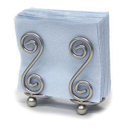Spectrum Diversified Designs - Scroll Napkin Holder - Satin Nickel - From the Scroll Collection, this napkin holder keeps napkins neat, stacked and contained. Made of sturdy steel and a satin nickel finish.
