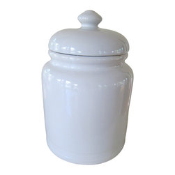 Ceramic Cookies Jar, Large - Ceramic cookies jar in white glazed finish.  A lovely place to hold an afternoon snack!