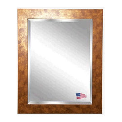 Rayne Mirrors - American Made Gold Stone Beveled Wall Mirror - This contemporary gold stone wall mirror features marbled copper accents and a sleek flat design, presenting a fresh modern feel to this classic piece.  Rayne's American Made standard of quality includes; metal reinforced frame corner  support, both vertical and horizontal hanging hardware installed and a manufacturers warranty.