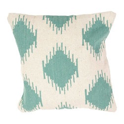 """Jaipur Rugs - Blue/Ivory color cotton cad09 pillow poly fill pillow 18""""x18"""" - Hand woven from 100% cotton the Cadiz pillow collection offers a range of open geometrics in bold color combinations. The collection coordinates with Jaipur Maroc and Urban bungalow flat weave rugs."""