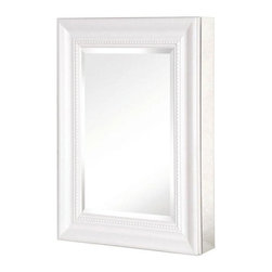 Pegasus - 15in. x 26in. Recessed or Surface Mount Mirrored Medicine Cabinet, Silver - 15 in. x 26 in. Recessed or Surface Mount Mirrored Medicine Cabinet with Deco Framed Door in White