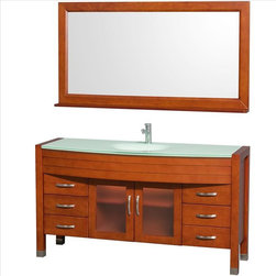 "Wyndham Collection - Wyndham Daytona Vanity Glass Top - The Daytona 60"" Lingle Bathroom Vanity Set - a modern classic with elegant, contemporary lines. This beautiful centerpiece, made in solid, eco-friendly zero emissions wood, comes complete with mirror and choice of counter for any decor. Transform your bathroom into a talking point with this Wyndham Collection original design, only available in limited numbers. All counters are pre-drilled for single-hole faucets, but stone counters may have additional holes drilled on-site."
