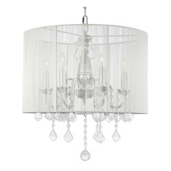 CRYSTAL CHANDELIER WITH SHADE SWAG PLUG IN-CHANDELIER W/ 14