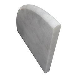 SCABOS TILE - Milas Carrara Shower Caddy - Milas White Carrara Marble both sides polished bathroom corner shelf.