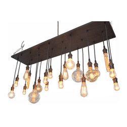 Industrial Lightworks - Edison Bulb Chandelier With A Rustic Industrial Feel - This chandelier is such a beautiful piece. The pictures don't do it justice. This will look good in any room you put it.