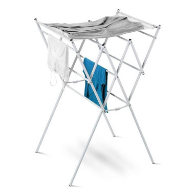 Honey Can Do - Expandable Drying Rack w Mesh Shelf, White - Expandable-expand for maximum drying space. Mesh shelf- easy drying of sweaters and delicates. Folds flat to 2 inches deep. 124 linear feet of storage