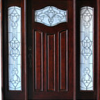 """BGW - Paris w/ Sidelights 6' x 6'8"""" - This door unit is pre-hung, pre-finished and ready for installation. It comes complete with jambs, threshold, weather-stripping, hinges, flush-bolts, interior moldings and exterior brick mold. The glass is beveled with glue chip. We have right hand and left hand swing in stock. Entry hardware is not included."""