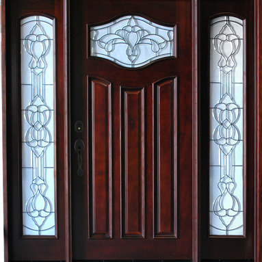 "BGW - Paris w/ Sidelights 6' x 6'8"" - This door unit is pre-hung, pre-finished and ready for installation. It comes complete with jambs, threshold, weather-stripping, hinges, flush-bolts, interior moldings and exterior brick mold. The glass is beveled with glue chip. We have right hand and left hand swing in stock. Entry hardware is not included."