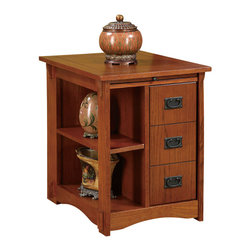 """Powell - Powell Mission Oak Cabinet Table - This functional table is perfect to keep everything within arms reach beside a recliner, sofa, or bed. The front features concealed storage on one side behind a door with faux drawer face, and open storage on the other side. Wipe-clean surface pull-out shelf is for beverages and snacks. A magazine rack is on the back. Rich """"Mission oak"""" finish is accented with traditionally styled """"Mission gray"""" hardware. Some assembly required."""